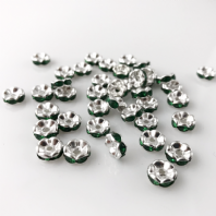 50 Rhinestone rondelle 6mm spacer beads Green